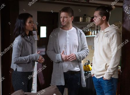 Ep 8690 Monday 30th December 2019  At Farrers Barn, an anxious David Metcalfe, as played by Matthew Wolfenden, Jacob Gallagher, as played by Joe Warren Plant, and Leyla Harding, as played by Rokhsaneh Ghawam-Shahidi, await the arrival of the paternity test results.