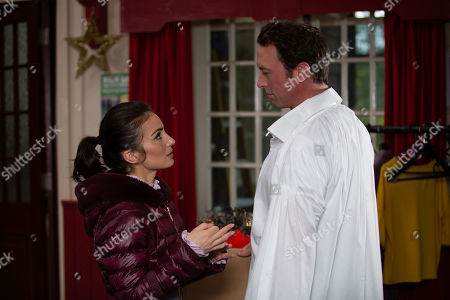 Ep 8673 Wednesday 11th December 2019 Leyla Harding, as played by Rokhsaneh Ghawam-Shahidi, is eager to rehearse the Panto's kissing scene with Liam Cavanagh, as played by Jonny McPherson.