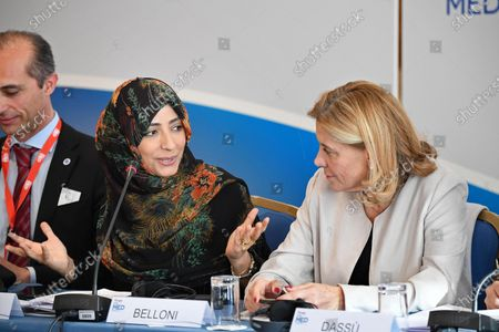 Yemeni Nobel Peace Prize laureate, journalist and human rights activist Tawakel Karman (C) and Secretary General of the Italian Ministry of Foreign Affairs Elisabetta Belloni (R) attend a women's forum during the MED 2019 - Mediterranean Dialogues' meeting in Rome, Italy, 05 December 2019.
