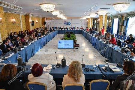 Stock Image of A general view of a women's forum during the MED 2019 - Mediterranean Dialogues' meeting in Rome, Italy, 05 December 2019, attended by Yemeni Nobel Peace Prize laureate, journalist and human rights activist Tawakel Karman (C-L, background).
