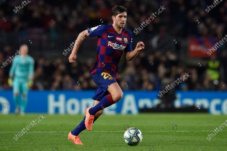 Stock Image of Sergi Roberto of FC Barcelona and Cucho Hernandez of RCD Mallorca