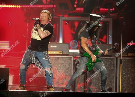 Axl Rose, Slash. Guns N' Roses' Axl Rose, left, and Slash perform on the first weekend of the Austin City Limits Music Festival at Zilker Park in Austin, Texas. Guns N' Roses, Maroon 5, DJ Khaled and DaBaby will perform at the second annual Bud Light Super Bowl Music Fest, to take place Jan. 30 through Feb. 1 at AmericanAirlines Arena in Miami