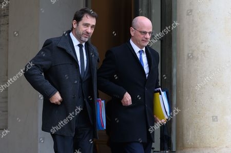 Stock Photo of Christophe Castaner, Interior Minister and Jean-Michel Blanquer, Education Minister