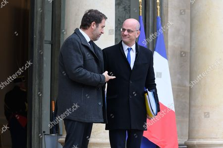 Stock Image of Christophe Castaner, Interior Minister and Jean-Michel Blanquer, Education Minister