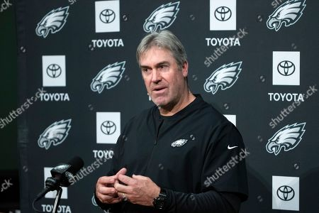 Philadelphia Eagles head coach Doug Pederson speaks with members of the media during a news conference at the NFL football team's practice facility in Philadelphia