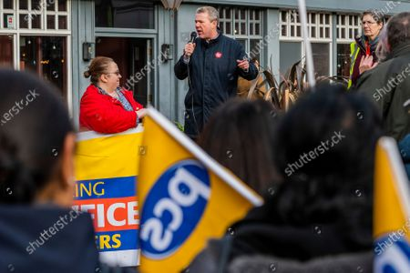 Stock Image of PCS union members, from HMRC Ealing, stage a walk out and rally in opposition to the planned closure of their office by the end of 2020. They work in International House, Ealing, and voted overwhelmingly for strike action and action short of a strike. Mark Serwotka spoke at the rally.