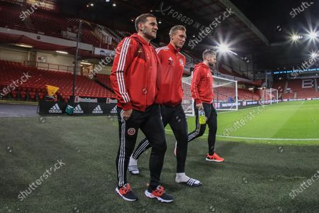 Stock Image of 5th December 2019, Bramall Lane, Sheffield, England; Premier League, Sheffield United v Newcastle United : Billy Sharp (10) of Sheffield United Simon Moore (25) of Sheffield United and Oliver Norwood (16) of Sheffield United arrive at Bramall Lane 