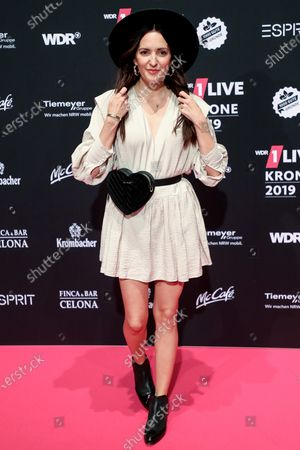 German presenter and singer Johanna Klum poses at the 20th 1LIVE Krone radio awards ceremony at the Jahrhunderthalle in Bochum, Germany, 05 December 2019. The radio award 1LIVE Krone is given to the best national artists of the music industry.