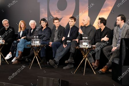 Sam Mendes, Krysty Wilson-Cairns, Roger Deakins, Pippa Harris, George MacKay, Dean-Charles Chapman, Mark Strong, Andrew Scott and Daniel Mays