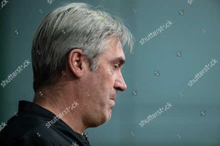 Stock Image of Philadelphia Eagles head coach Doug Pederson speaks with members of the media during a news conference at the NFL football team's practice facility in Philadelphia