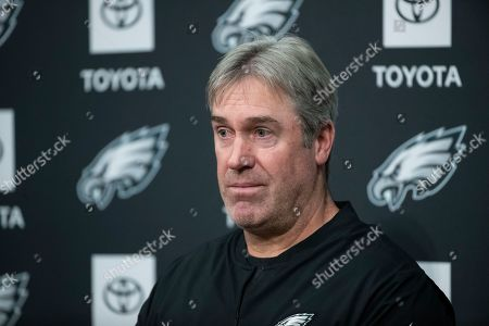Stock Picture of Philadelphia Eagles head coach Doug Pederson speaks with members of the media during a news conference at the NFL football team's practice facility in Philadelphia