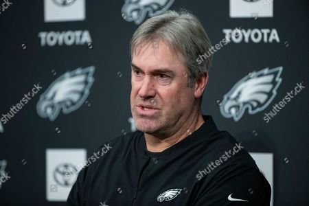 Stock Photo of Philadelphia Eagles head coach Doug Pederson speaks with members of the media during a news conference at the NFL football team's practice facility in Philadelphia