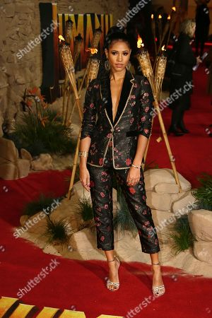 Television presenter Vick Hope poses for photographers upon arrival at the premiere of the film 'Jumanji The Next Level', in central London