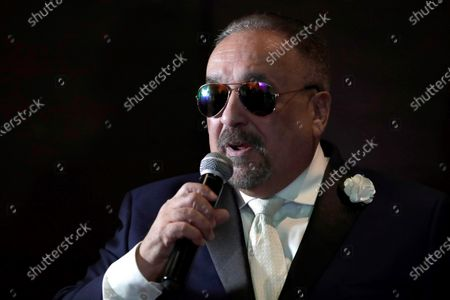 US-Puerto Rican musician Willie Colon speaks during a colloquium with journalists, musicians, executives of the Ministry of Culture, the first lady of Panama, and the director of the National Police, in Panama City, Panama, 05 December 2019. Colon will perform at the Rommel Fernandez Stadium in Panama City, as part of Marc Anthony's 'Opus Tour', later the same say.