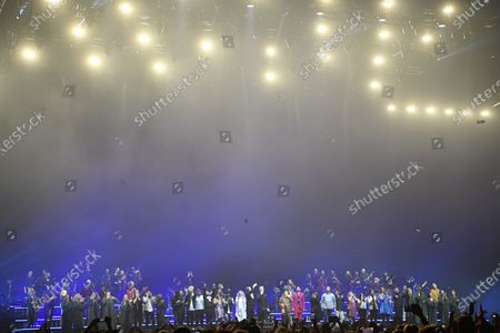 All artists on stage during the Avicii Tribute Concert For Mental Health Awareness at the Friends Arena in Stockholm, Sweden, 05 December 2019. Swedish musician, DJ, remixer and record producer Avicii (Tim Bergling) died at the age of 28 in Muscat, Oman on 20 April 2018.