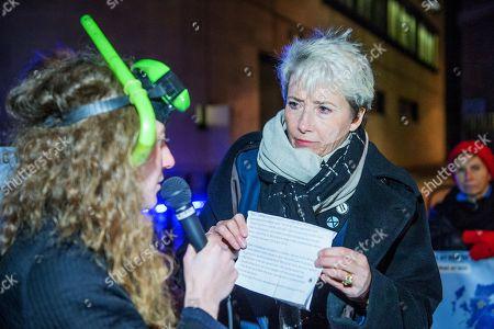 Exinction Rebellion 12 Days of Crisis Day 5 extreme weather warning broadcast outside the BBC - Dame Emma Thompson DBE