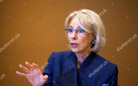 U.S. Education Secretary Betsy DeVos speaks at a roundtable discussion on school choice with Arizona community leaders, educators, parents and students, in Scottsdale, Ariz. DeVos talked about her $5 billion plan to fund tuition for private and charter school students, prior to addressing the American Legislative Exchange Council