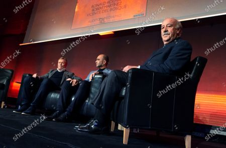 Stock Picture of (L-R) Netherland's head coach Ronald Koeman, Belgium's head coach Roberto Martinez and Spanish former head coach Vicente del Bosque ; attend an act during the third anniversary of Dutch legend Johan Cruyff's death in Barcelona, Catalonia, Spain, 05 December 2019.
