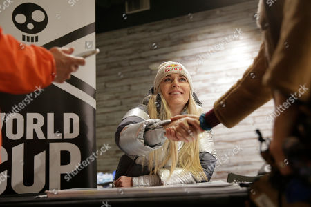 Skier Lindsey Vonn sign greets fans at the grand opening of Big Snow in East Rutherford, N.J., . The facility, which is part of the American Dream mega-mall, is North America's first indoor ski and snowboard slope with real snow