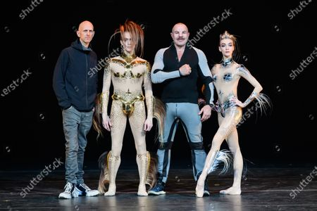 Stock Picture of Wayne McGregor, Edward Watson, Manfred Thierry Mugler, and Olga Smirnova, pose, on stage, for photographs in advance of the world premiere of McGREGOR + MUGLER, at the London Coliseum.