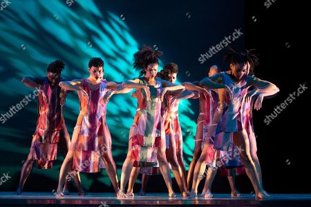 """Performers with Alvin Ailey American Dance Theater rehearse """"Divining"""" by choreographer Judith Jamison, in New York. The piece is performed from Dec. 5 to Jan. 4 at New York City Center"""