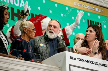 Singer Dionne Warwick (L) Chef Jose Andres (C) and Stacey Cunningham (R), the President of the New York Stock Exchange, ring the closing bell of the New York Stock Exchange in New York, New York, USA, on 05 December 2019. Andres and Warwick were participating in the lighting of the New York Stock Exchange's Christmas Tree tonight.