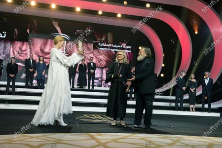 Tilda Swinton (L) presents the Tribute to Australian Cinema to Australian film director Gillian Armstrong (2-R) and Australian actor Jack Thompson (R) during the 18th annual Marrakech International Film Festival, in Marrakech, Morocco, 05 December 2019. The film festival runs from 29 November to 07 December 2019.