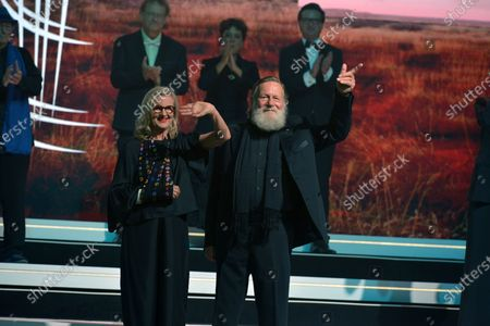 Australian film director Gillian Armstrong (L) and Australian actor Jack Thompson (R) attend the Tribute to Australian Cinema during the 18th annual Marrakech International Film Festival, in Marrakech, Morocco, 05 December 2019. The film festival runs from 29 November to 07 December 2019.