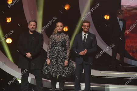 Stock Photo of Anthony Lapaglia (L), Abbie Cormish (C) and Simon Baker (R) attend the tribute to Australian cinema during the 18th annual Marrakech International Film Festival, in Marrakech, Morocco, 05 December 2019. The film festival runs from 29 November to 07 December 2019.