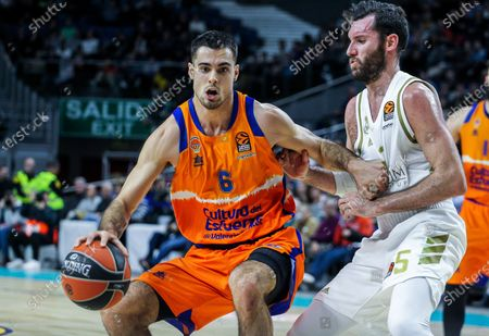 Alberto Abalde, player of Valencia from Spain and Rudy Fernandez Farres 'Rudy', player of Real Madrid from Spain