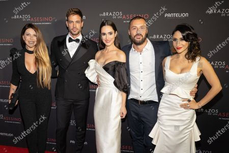 Monica Ayos, William Levy, Alicia Sanz, Matias Moltrasio and Thanya Lopez pose at the Pantelion's En Brazos De Un Asesino Miami Premiere