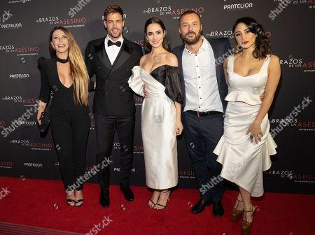 Monica Ayos, William Levy, Alicia Sanz, Matias Moltrasio and Thanya Lopez pose at the Pantelion's En Brazos De Un Asesino Miami Premiere