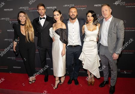 Monica Ayos, William Levy, Alicia Sanz, Matias Moltrasio, Thanya Lopez and Jeff Goldberg pose at the Pantelion's En Brazos De Un Asesino Miami Premiere