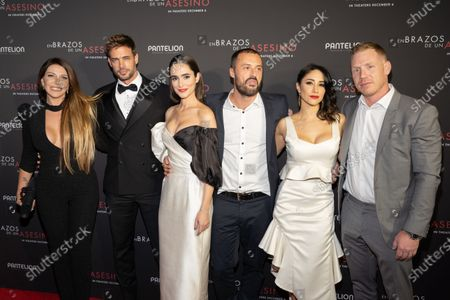 Monica Ayos, William Levy, Alicia Sanz, Matias Moltrasio, Thanya Lopez and Jeff Goldberg pose at the Pantelion's En Brazos De Un Asesino Miami Premiere