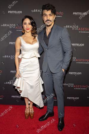 Thanya Lopez and Shalim Ortiz posing at the Pantelion's En Brazos De Un Asesino Miami Premiere