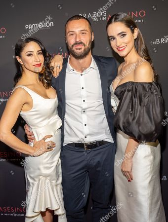 Stock Image of Thanya Lopez, Matias Moltrasio and Alicia Sanz pose at the Pantelion's En Brazos De Un Asesino Miami Premiere