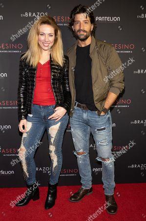 Carolina Laursen and David Chocarro pose at the Pantelion's En Brazos De Un Asesino Miami Premiere