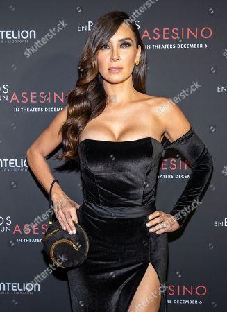 Elizabeth Gutierrez posing at the Pantelion's En Brazos De Un Asesino Miami Premiere