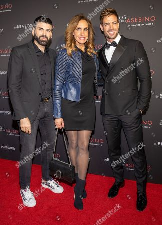 Jomari Goyso, Lili Estefan and William Levy pose at the Pantelion's En Brazos De Un Asesino Miami Premiere