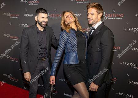 Jomari Goyso, Lili Estefan and William Levy pose at the Pantelion's En Brazos De Un Asesino Miami Premiere