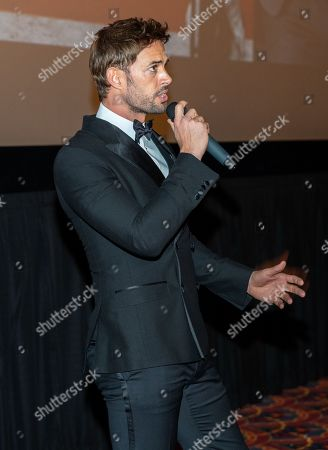 Stock Picture of William Levy speaking at the Pantelion's En Brazos De Un Asesino Miami Premiere