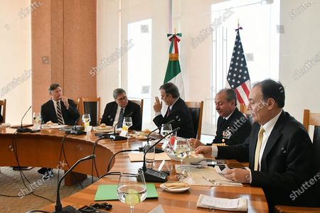 A handout photograph made available by the Ministry of Foreign Affairs shows (L-R), US Ambassador to Mexico Christopher Landau, Attorney General William Barr, Secretary of Foreign Affairs of Mexico Marcelo Ebrard, Secretary of the Navy Jose Rafael Ojeda, and Secretary of Security and Citizen Protection Alfonso Durazo attending a work meeting in Mexico City, Mexico, 05 December 2019. Mexico and USA agreed on 05 December to strengthen the High Security Group (Ganseg) with the objective of combating organized crime and cross border crime, according to the Mexican government said.