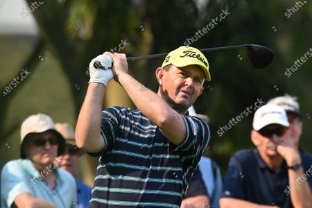 Greg Chalmers of Australia tee's off on the 16th during round two of The Australian Open golf championship at The Australian Golf Club in Sydney, Australia, 06 December 2019.