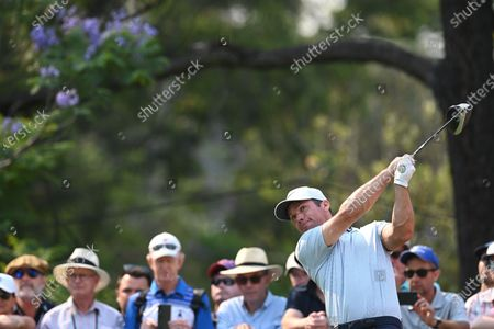 Paul Casey of England tee's off on the 18th during round two of The Australian Open golf championship at The Australian Golf Club in Sydney, Australia, 06 December 2019.