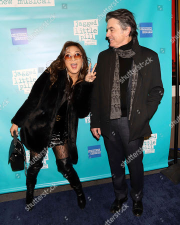 """Ashley Park, Peter Gallagher. Ashley Park, left, and Peter Gallagher attend the """"Jagged Little Pill"""" Broadway opening night at the Broadhurst Theatre, in New York"""