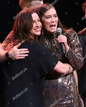 "Alanis Morissette, Diane Paulus. Alanis Morissette, left, and Diane Paulus appear on stage during the ""Jagged Little Pill"" Broadway opening night curtain call at the Broadhurst Theatre, in New York"