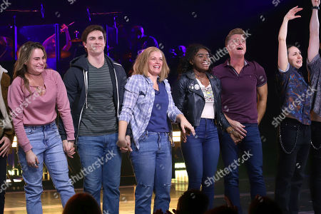 """Kathryn Gallagher, Derek Klena, Elizabeth Stanley, Celia Rose Gooding, Sean Allan Krill, Lauren Patten. Kathryn Gallagher, from left, Derek Klena, Elizabeth Stanley, Celia Rose Gooding, Sean Allan Krill and Lauren Patten appear on stage during the """"Jagged Little Pill"""" Broadway opening night curtain call at the Broadhurst Theatre, in New York"""