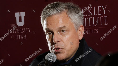 """Republican ex-Russia ambassador Jon Huntsman Jr. speaks at the Hinckley Institute of Politics, in Salt Lake City. President Donald Trump's former ambassador to Russia said Vladimir Putin is likely """"joyful"""" about the renewed prominence of a debunked conspiracy theory that Ukraine was responsible for meddling in the 2016 election, which experts consider Russian disinformation"""