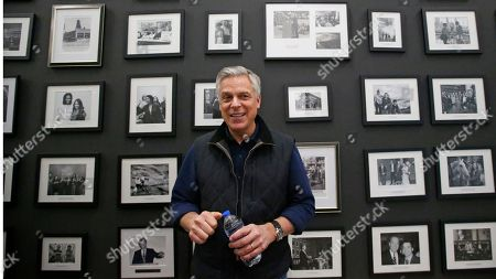 """Republican ex-Russia ambassador Jon Huntsman Jr. looks on after speaking at the Hinckley Institute of Politics, in Salt Lake City. President Donald Trump's former ambassador to Russia said Vladimir Putin is likely """"joyful"""" about the renewed prominence of a debunked conspiracy theory that Ukraine was responsible for meddling in the 2016 election, which experts consider Russian disinformation"""