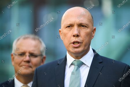 Australian Home Affairs Minister Peter Dutton speaks to the media during an announcement to increase counter-terrorism measures at Canberra Airport, in Canberra, Australia, 06 December 2019. Morrison announced that the government would be increasing counter-terrorism measures across nine airports in Australia. The measures included the deployment of 135 additional police officers.
